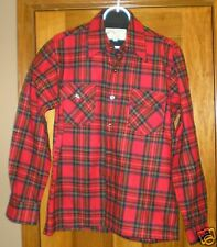Vintage Herters Men's Wool Shirt Red Plaid Size M Very Nice
