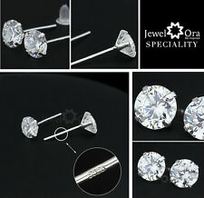 Silver 925 Sterling Crystal Stud Earrings 5mm Butterfly Back Free Gift Bag