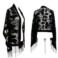Elegant Black Floral Silk Burnout Velvet  Fringed Scarf Shawl Wrap