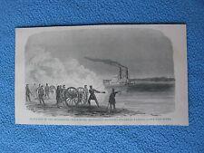 1898 Civil War Print - Blockade of Mississippi -- Vicksburg Artillery Shelling