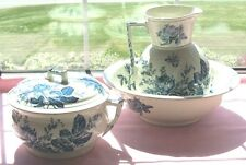 DUNN BENNETT & CO ENGLAND FLOW BLUE THE ROSE PAT WASH BOWL PITCHER CHAMBER POT