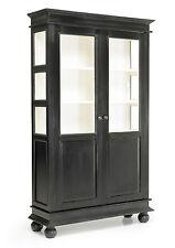 NINA, Vitrine Landhausstil schwarz-weiß, Buffet Küchenschrank schwarz vintage