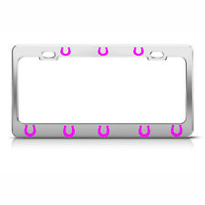 PINK HORSE SHOES Heavy Duty Chrome License Plate Frame Tag Border