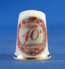 FINE PORCELAIN THIMBLE - 40TH RUBY WEDDING ANNIVERSARY -- FREE GIFT BOX