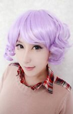 Romantic Lavender Mixed Color Lovely Short Curly Lolita Most Trendy Zipper Wig