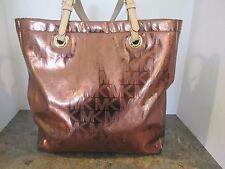 Michael Kors Cocoa MK Mirror Metallic NS Tote Shoulder Bag Handbag Purse