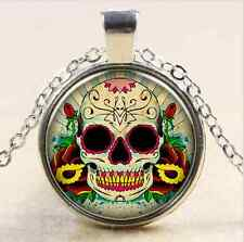 Vintage  Candy Skull Cabochon Tibet silver Glass Chain Pendant Necklace m4