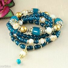B4 Multi Layer Blue Glass Bead Gold Tone Boho Stretch Bracelets - Gift Pouch