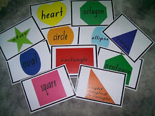 Teacher Resource Infants Primary Shapes Charts 12 x A4 Learn the names BN