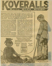 Levi Strauss Kids Koveralls !RARE! Blue Jeans Overalls 1920 Levis Newspaper Ad