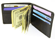 Black Genuine Leather BiFold Spring MONEY CLIP Slim Plain wallet ID Badge NEW###