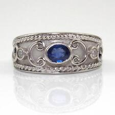 14K White Gold Natural Blue Sapphire Diamond Scroll Band Ring Size 5.25