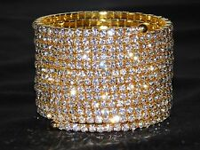 13 SPIRAL PARTY GOLD RHINESTONE BANGLE CRYSTAL UPPER ARM BRACELET CUFF