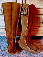 #1 VINTAGE TALL FRINGED SUEDE MOCCASINS HIPPY NATIVE AMERICAN STYLE COSTUME