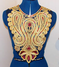 gold multicolour sequin lace YOKE chest applique motif moroccan arab asian