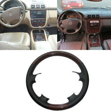 Black Leather Wood Steering Wheel Cover Mercedes 98-05 W163 M Class ML320 ML430