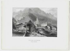 1843 VILLAGE OF SPLUGEN Splügen acquaforte Wallis Bartlett Belin Graubünden