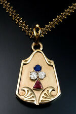 Antique Art Nouveau Jeweled Gold Locket Pendant