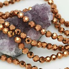 72 pcs 8mm Chinese Crystal Glass Loose Beads Round Faceted Metallic Bronze