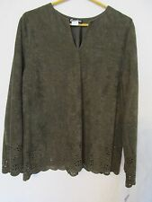 Women's Caribou New York Blouse Long Sleeve Floral Punched Army Green Size XL