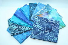 Quilt Fabric Mystery Pack 10 X Blue Batik  Fat Quarter bundle: 100% cotton