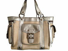 Coach Straw Gold Leather trim Large Tote