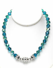 KIRKS FOLLY GODDESS CRYSTAL  2-TONE MAGNETIC  NECKLACE teal / silvertone