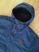 FRED PERRY NAVY BLUE FLEECE LINED HOODED OFFSHORE PARKA JACKET L shower proof