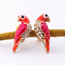 New Fashion Crystal Earrings Women Loverly Animal Red Bird Ear Stud Earrings EF