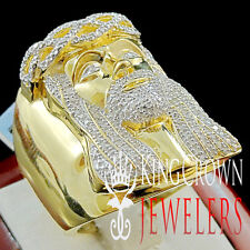 Men Real Genuine Diamond Pave Jesus Face Pinky Head Ring Band Yellow Gold Finish
