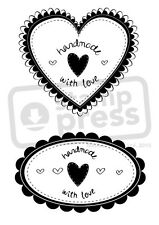 A7 'Handmade With Love Heart & Oval' Unmounted Rubber Stamp (SP002948)