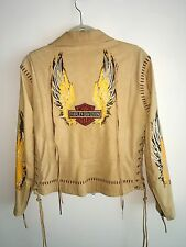 Harley-Davidson Beige Leather Motorcycle Jacket Painted Laces Embroidery M