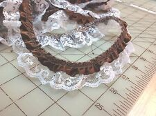 Brown Satin Ribbon White Lace Ruffle Trim 1 1/4 inches   1 yard