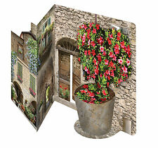 3D Italian floral courtyard greeting card celebration birthday anniversary