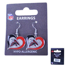 Brand New NFL Atlanta Falcons Swirl Heart Earring Dangle Charm
