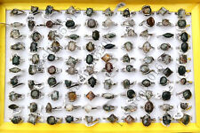 Wholesale Jewelry Lots 10pcs Silver Plated Green Agate Stone Rings Free