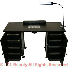 Vented Manicure Nail Table Station Black Steel Frame Beauty Spa Salon Equipment