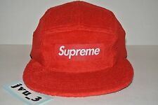 NEW SUPREME TERRY MESH SIDE PANEL CAMP CAP SS16 RED BOX LOGO hat comme cdg ali