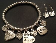 Bijoux Beaded stretch bracelet With Love Heart Charms And Earrings boho
