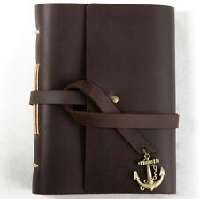 Ancicraft Small Leather Diary Journal with Vintage Anchor A6 Lined Craft Paper