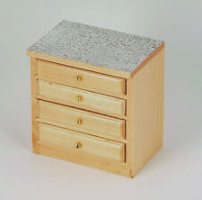 Dolls House Furniture: Light Wood Kitchen Drawers Unit in 12th scale