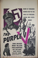 THE PURPLE V, John Archer,Mary Mc.Leod, Window Card