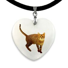 Bengal Katze - Perlmutt Herz Anhänger mit Samtkette CPP509