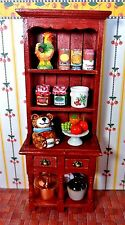 STUNNING DOLLHOUSE WOOD KITCHEN CABINET FILLED, CERAMICS, GLASS, FOOD, MORE