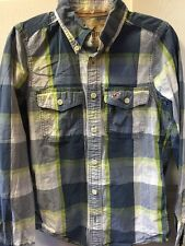 Men HOLLISTER Blue White Green Plaid Long Sleeve Flap Pocket Button Down Shirt S
