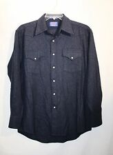 NWOTS MENS PENDLETON 100% VIRGIN WOOL NAVY BLUE WESTERN PEARL SNAPPED SHIRT SZ-M
