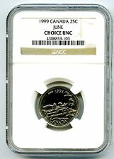 1999 CANADA 25 CENT NGC CHOICE UNC JUNE - PACIFIC RAILWAY COAST TO COAST QUARTER