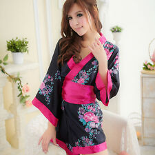 Woman's Sexy Floral Lingerie Japanese Kimono Geisha Costume Fancy Dress Robe