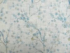 4 DRAPES NEW CHERRY BLOSSOM TOILE  in Misty Blue   on FLAX LINEN/RAYON CURTAINS