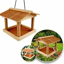 WOODEN HANDING BIRD FEEDER GARDEN WILD BIRDS TREE HANGING FEEDING STATION